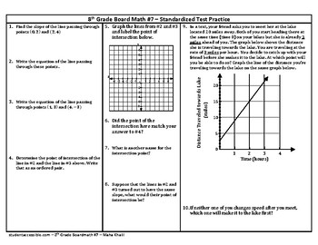 8th Grade Board Math #7 - Standardized Test Practice