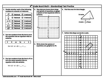 8th Grade Board Math #8 - Standardized Test Practice