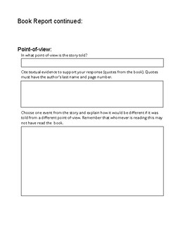 8th Grade Book Report Graphic Organizer