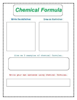 8th Grade Chemical Formulas and Equations Vocabulary Packet