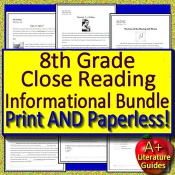 Text Evidence Grade 8 Close Reading Informational Bundle Passages Google Option