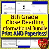 Text Evidence Grade 8 Close Reading Informational Bundle Passages Google Option
