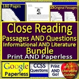 8th Grade Reading Comprehension Passages and Questions Close Reading Bundle