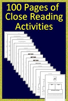 8th Grade Close Reading Literature Passages and Question Sets Print + Paperless!