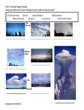 8th Grade Clouds and Atmosphere Test- basic, ESL or SpecEd