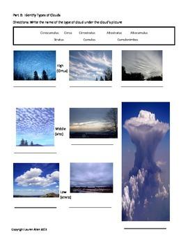 8th Grade Clouds and Atmosphere Test- below and very below