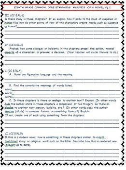 8th Grade Common Core Analysis Template for Any Novel