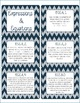 8th Grade Common Core CCSS Labels and Posters Math and ELA-Chevron