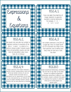 8th Grade Common Core CCSS Labels and Posters Math and ELA-Gingham