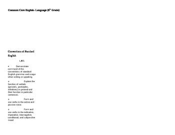 8th Grade Common Core Checklist Language