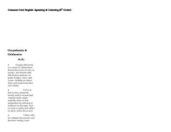 8th Grade Common Core Checklist Listening