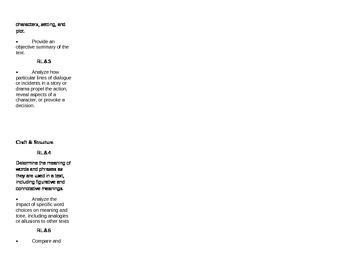 8th Grade Common Core Checklist Literature