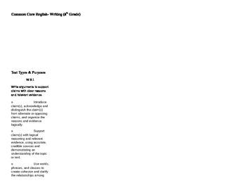 8th Grade Common Core Checklist Writing