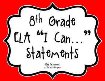 8th Grade Common Core ELA I Can Statement Posters English