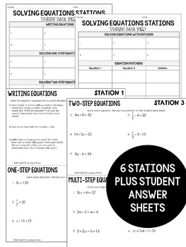 Solving Equations : Middle School Math Stations