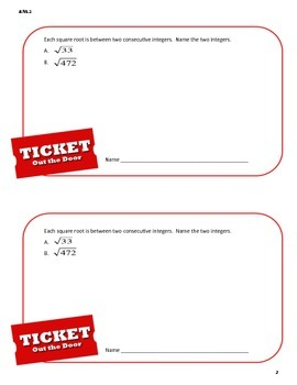 Ticket Out the Door (Exit Pass) - Common Core 8th Grade Math 8.NS.2