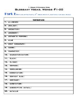 8th Grade Common Core Glossary Unit - Words 1-91