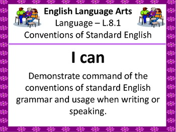 """8th Grade Common Core """"I Can"""" Statements for English Language Arts"""