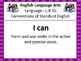 """8th Grade Common Core """"I Can"""" Statements for English Langu"""