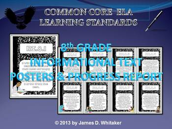 Common Core 8th Grade Informational Text Posters & Progress Report Form