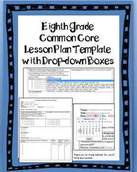 8th Grade Common Core Lesson Plan Template with Drop-down Boxes