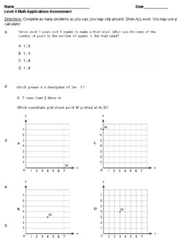 Special Education 8th Grade Common Core Math Word Problems Probe