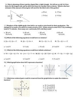 8th Grade Common Core Math Assessment