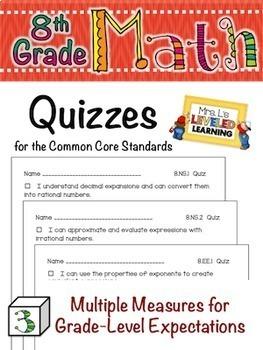8th Grade Common Core Math Bundle with Marzano Scales