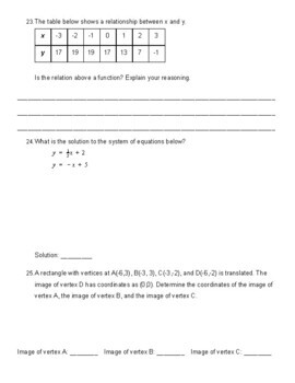 8th Grade Common Core Math Final Assessment