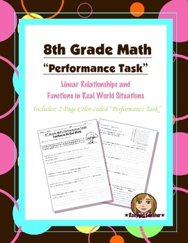 8th Grade Common Core Math [Performance Task] ~ Functions & Linear Relationships