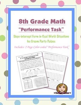 8th Grade Common Core Math [Performance Task] ~ Slope-inte