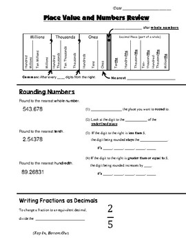 Math 8 Guided Interactive Math Notebook Page: Place Value Graphic Organizer