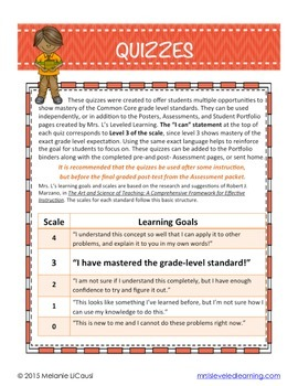 8th Grade Common Core Math Quizzes - All Standards
