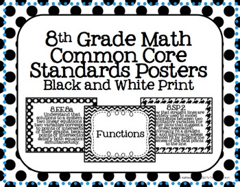 8th Grade Common Core Math Standards Posters- Black and White Pattern