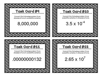 8th Grade Common Core Math [Task Cards] Scientific Notation