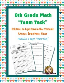 8th Grade Common Core Math {Team Task} ~  Solutions to Linear Equations