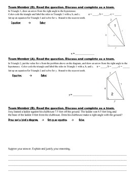 8th Grade Common Core Math {Team Task} ~ The Pythagorean Theorem