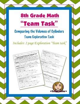 8th Grade Common Core Math {Team Task} ~ Cylinder Volume Exploration