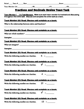 8th Grade Common Core Math {Team Task} ~ Fractions, Ratios and Decimals