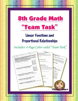 8th Grade Common Core Math {Team Task} ~ Proportional Relationships