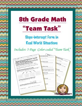 8th Grade Common Core Math {Team Task} ~ Slope-intercept Form in Situations