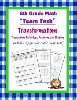 8th Grade Common Core Math {Team Task} ~ Transformations