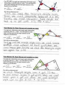 8th Grade Common Core Math {Team Task} ~ Triangle Angle-sum