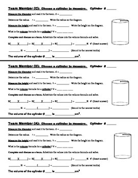 8th Grade Common Core Math {Team Task} ~ Volume of a Cylinder (Hands-on)
