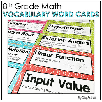 8th Grade Common Core Math Vocabulary Word Cards
