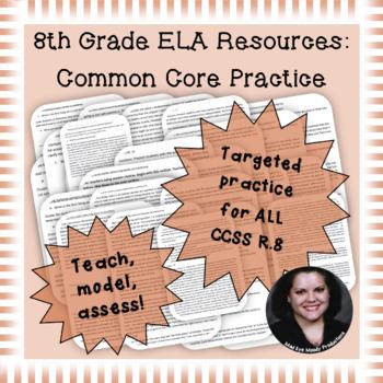 8th Grade Common Core Practice ALL 17 Reading Standards CIM mini-lessons