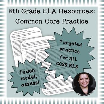 8th Grade Common Core Practice ALL RI.8 Standards mini-lessons
