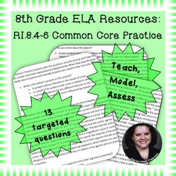 8th Grade Common Core Practice RI4 RI5 RI6 Author's Craft and Structure Cluster