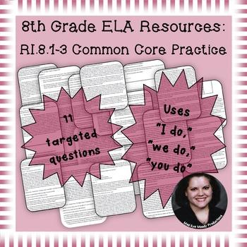 8th Grade Common Core Practice RI1 RI2 RI3 Key Ideas and D