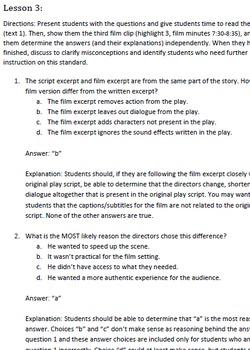 8th Grade Common Core Practice - RL.8.7 - 5 mini-lessons